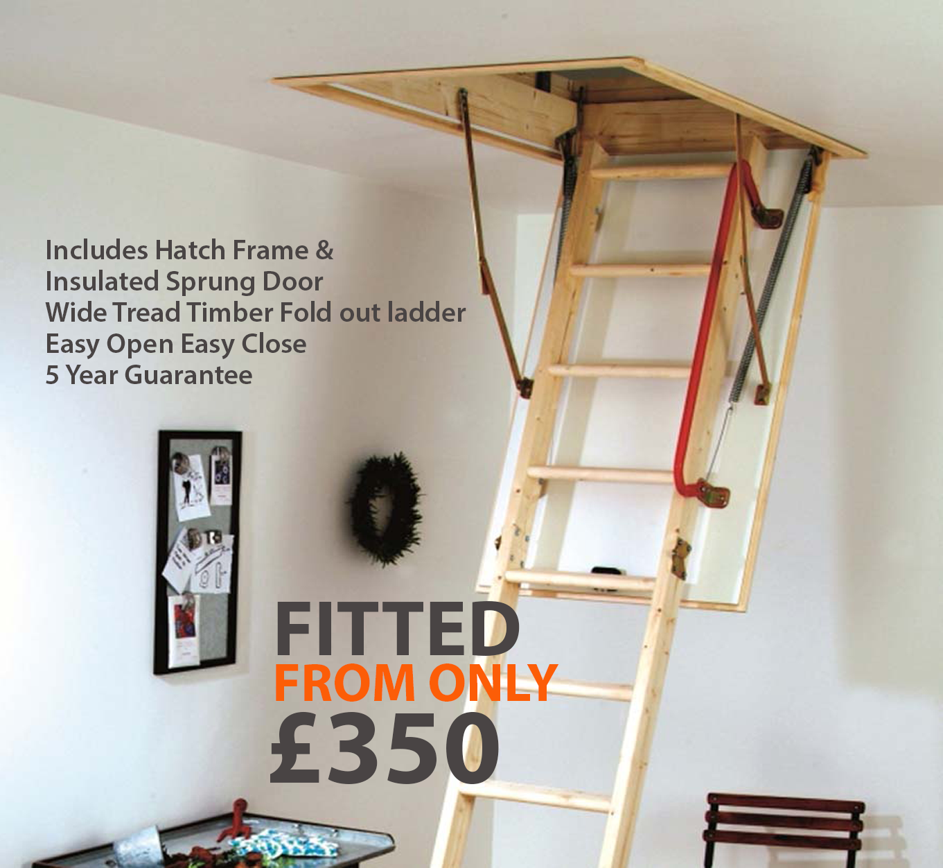 Quality Timber Loft Ladder & Hatch